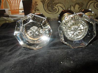 6 Pair Antique Octagonal Glass Door Knobs