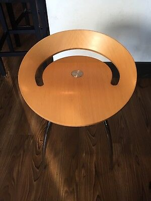 LYRA MAGIS Beech Wood & Chrome - Rare Low Stool