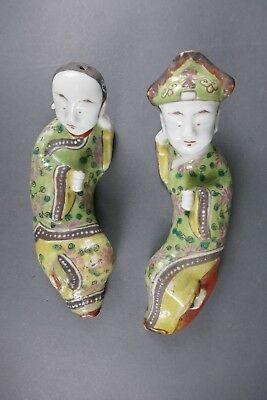 Fine Old Chinese Pair 19th/20th Porcelain Figurines Scholar Work Of Art
