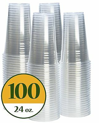 Plastic Cups CRYSTAL CLEAR PET [100 pack] 24 oz