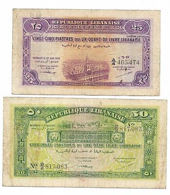 LEBANON (LIBAN) 25 and 50 Piastres 1942 P 36 and 37. F or better.