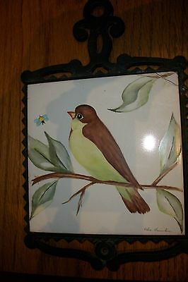 "Vintage~Iron Tile Trivet Made in Japan w/ 6"" handpainted tile"