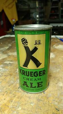 Vintage Krueger cream ale beer can flat top opening instructions OI black letter
