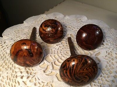 Lot of 4 Vintage Antique Brown Swirl Porcelain Door Knobs ~ Decorative Hardware