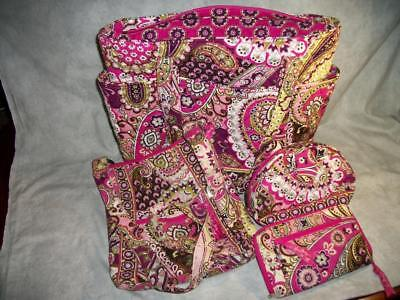 K114 Vera Bradley LOT Very Berry Paisley Retired Hipster Wallet Tote Makeup Bags