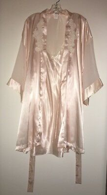 Cinema Etoile Women's Satin Baby Doll Nightie Teddie Peignoir Robe Set XL