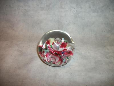 M69 St Clair Glass Paperweight Elwood Indiana Controlled Bubbles Flowers