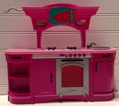 Mattel Barbie Doll House Furniture Kitchen Microwave Oven Sink Counter Unit