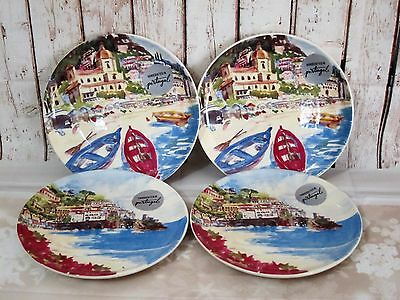 """cmg PORTUGAL Red Boats Seashore LUNCH SALAD DESSERT PLATES Handmade 8"""" S/4 NEW"""