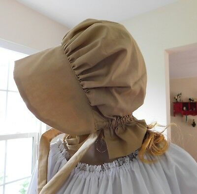 LADIES BONNET HAT REENACTMENT  LITTLE HOUSE 100% COTTON tan #109