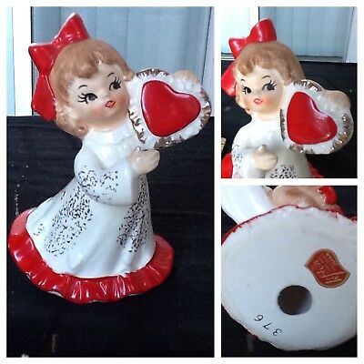 vintage lefton valentines day girl figurine whte dress red heart #376