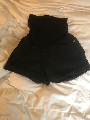 Pea in the Pod black denim maternity shorts size M preowned