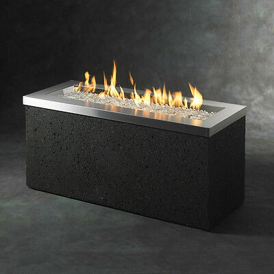 Black Stainless Steel 48-in W 88,000-BTU Liquid Propane Gas Fire Pit Table