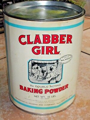 "Tin Can, 10lb Clabber Girl 9""X7""~Has a Paper Label,Made in Terre Haute Indiana"