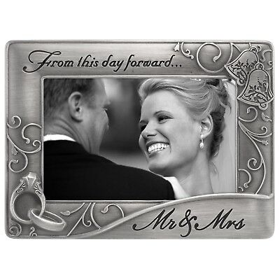 Wedding Gift Metal Frame Mr. Mrs For 4x6 Picture Photo Anniversary Present