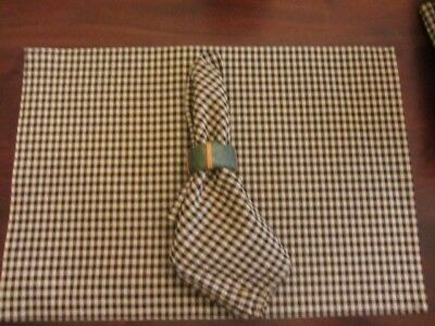 Longaberger Khaki Check Placemats & Napkins Set for Eight, Matching Tote