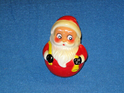 Vintage SANTA CLAUS Chiming Roly Poly Toy, Kiddie Products Inc. Hard Plastic