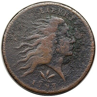 1793 Wreath Cent, Vine & Bars Edge, S-8, R.3, F detail