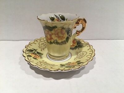 Lefton Small Tea Cup and Saucer- Yellow/Gold with yellow roses