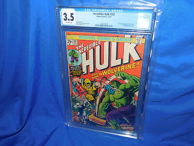 Incredible Hulk #181 CGC 3.5 OW 1st Full Appearance Of Wolverine Presents Higher