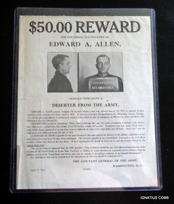 Original Antique 1912 U.S. Army Wanted For Desertion Poster Edward Allen