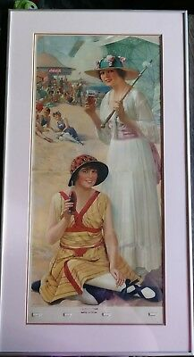 Original 1918 Coca-Cola Calendar -Two Bathing Beauties At The Beach Framed