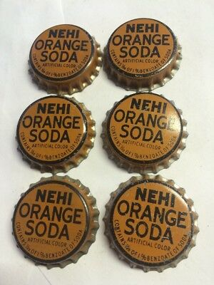 Vintage Nehi Orange Soda Bottle Caps Lot of 6 NOS Cork Lined