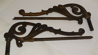 VINTAGE lot of 2 matching CAST Iron WALL Brackets, gold and black painted