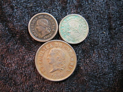 3 old world foreign coin lot COLOMBIA assorted centavos 1881 1888 1902 FREE S&H