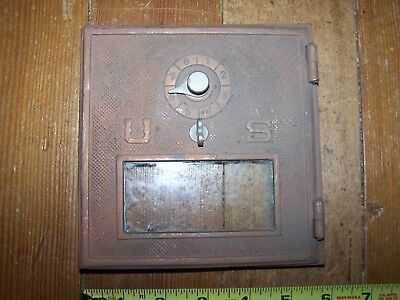 "Vintage 6""X6"" Bronze Post Office P.O. Door Mail Box Postal Antique-USPS"