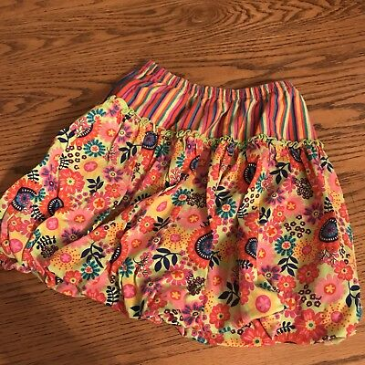 HANNA ANDERSSON Girls Summer Colorful Multicolor Floral Bubble 8 Skirt Sz 130