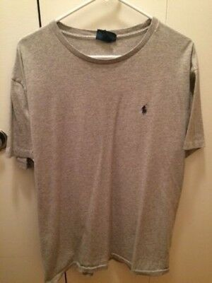 Two polo ralph lauren t-shirts, pre owned size large, grey/baby blue colors