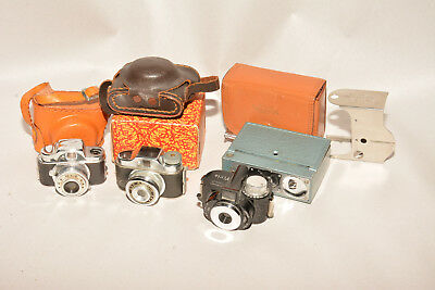Lot Of Four Subminiature Cameras Micro 16, Pixie, Hit And Arrow, 3 W/cases