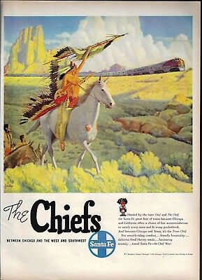 1949 Santa Fe Railroad Print Ad Indian Chief on Horse Villa Art Waving to Train