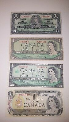 Bank Of Canada 1937--$1 1954 $1 1967 $1 1973 $1 Canadian Bank Notes $60