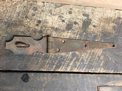 "Vintage Antique 12"" Hinged Hasp Latch Lock Gate Door Barn Rusty"