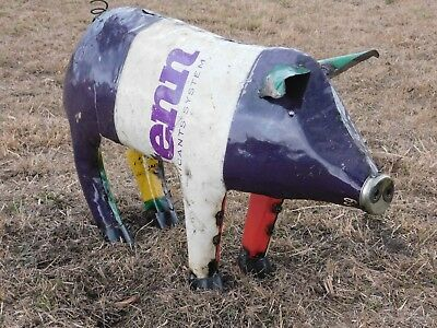 "Mexican Metal Art 30"" Drum Metal Oil Barrel Farm Pig Home Garden Patio"