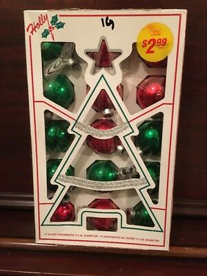 Vtg Box Lot Retro 15 Shiny Green/Red Holly Glass Christmas Ball Ornaments