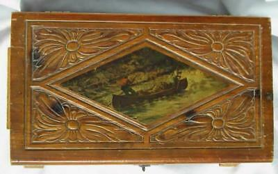 Collectable Vintage Jewlery Box With Photo Of Two Men Riding Canoe Adirondack Ny