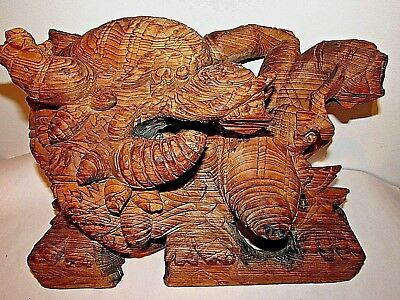 Antique Chinese Carved Wood Dragon Buddhist Temple Architectural Detail / Teak
