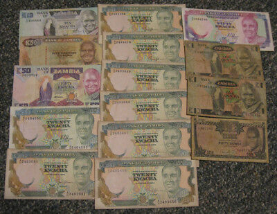 Zambia - Group of (15) Older Banknotes