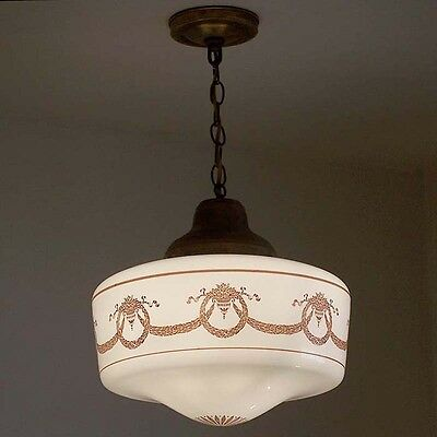 559 Vintage 20s Ceiling Light Lamp SchoolHouse Fixture Hall  Porch pendant 1OF 2