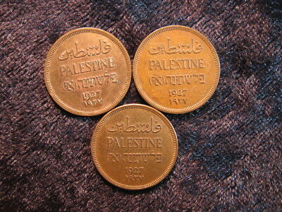 3 old world foreign coin lot PALESTINE 1 one mil 1927 KM1 FREE S&H
