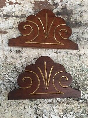 Pair Carved Wood Pediment Pair Antique French Salvaged Upcycled Carving