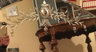 """Antique victorian Vintage Art Deco Mirror Octagon Etched Wall Hall Wood Back 26"""""""