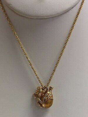 "Cupids Love & Enamel Egg Pendant And 24"" Necklace Designer Unknown"