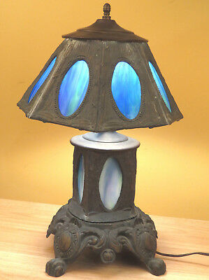 Antique Arts Crafts Leaded Stained Glass Slag Lamp Light 18in Tall Stunning  R