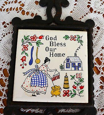 """VINTAGE WROUGHT IRON TILE TRIVET miniature HANGING 'God Bless Our Home"""" Rustic 2"""