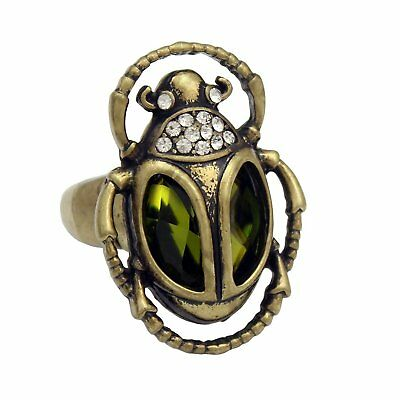 Gold Plated Q&Q Fashion Vintage Egyptian Cleopatra khepri Scarab Beetle Green Rh