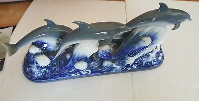 """Lladro """":The Dolphins"""" 20"""" PERFECT Statue (Four Dolphins) Retail $1,300"""